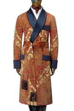 men's paisley dressing gown quilted shawl - Google Search