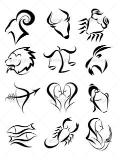 Zodiac signs - Decorative Symbols Decorative