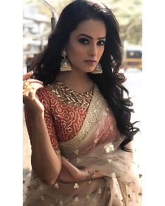 Here we have for you 15 of the most stylish Blouse Designs and saree from the stylish star Anita Hassanandani wardrobe that'll make your jaw drop. Stylish Blouse Design, Fancy Blouse Designs, Saree Blouse Designs, Beautiful Bollywood Actress, Most Beautiful Indian Actress, Indian Beauty Saree, Indian Sarees, Shagun Blouse Designs, Latest Saree Blouse