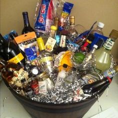 """""""basket o' fun"""" silent auction by amparo Camping Gift Baskets, Liquor Gift Baskets, Themed Gift Baskets, Diy Gift Baskets, Camping Gifts, Basket Gift, Fundraiser Baskets, Raffle Baskets, Fundraiser Games"""