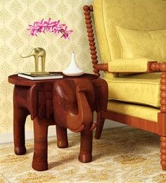 Bhargava Solid Wood End Table In Honey Oak By Mudramark In 2020