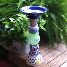 Love this.....would like to make one myself. Birdbath garden art