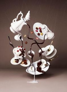 Gravity Defying Photography for Chocolate Trail by NAM Mad Hatter's Tea Party alice in wonderland Chocolate Photos, Chocolate Art, Molding Chocolate, Magic Chocolate, Chocolate Showpiece, Gravity Cake, Surrealism Photography, Food Art, Tea Pots