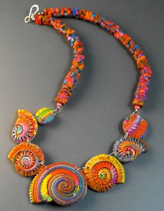Colorful Spirals Necklace by MargitB., via Flickr