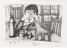 Aldo Rossi, Il caffé del mattino , 1990. Fotoincisione, acquatinta, 29,2 × 42 cm (carta Fabriano 100% cotone, 35 × 50 cm)