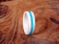 Items similar to White Birdseye Maple wood ring with Turquoise inlay Bentwood ring on Etsy