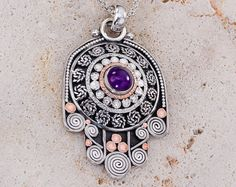 Silver Hamsa Necklace Amethyst Gemstone, Evil Eye Hamsa Necklace, Silver Hamsa Pendant, Amethyst Necklace, February Birthstone on Etsy, $320.00