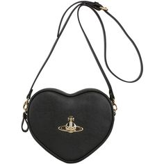 VIVIENNE WESTWOOD Divina Heart Saffiano Faux Leather Bag - Black found on Polyvore