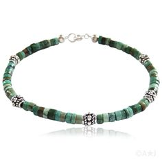 Turquoise and Bali Silver Bracelet. #jewelry