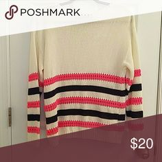 White Striped Over Sized Sweater White over sized sweater with hot pink and royal blue stripes on the bottom Francesca's Collections Sweaters Crew & Scoop Necks
