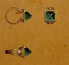 An emerald and diamond ring, designed by Lorenzo Homar in the 1940's for Cartier, in NYC.