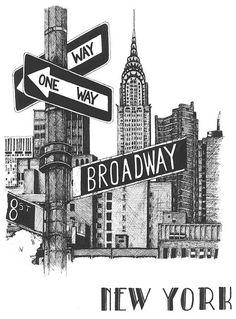 Retro Wallpaper Discover Broadway art print / New York cityscape / black and white gift / original illustration print Girl Illustration Art, Friends Illustration, Elephant Illustration, Illustrations, Nyc Drawing, New York Drawing, New York Tattoo, Cityscape Drawing, New York Cityscape