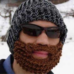 F, Handmade Winter Cap Hat Woolen Knitted Crochet Mustache Beard Warm Mask Ski