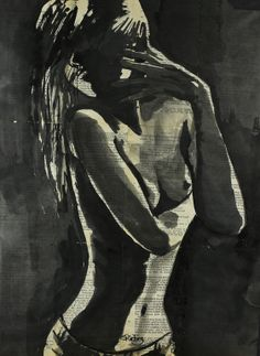 "Saatchi Online Artist: Sara Riches; Ink 2013 Drawing ""In the Dark"" #art"