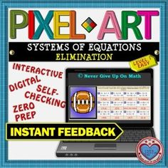 PIXEL ART: Solve System of Equations by Elimination (SIMPLE) DISTANCE LEARNING Interactive Activities, Math Activities, Teacher Resources, Math Stations, Math Centers, Math Skills, Math Lessons, Student Learning, Fun Learning