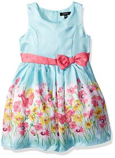 c9b60be46c3b9 Zunie Little Girls Border Print Shantung Dress with 3d Flowers Turquoise  Floral 3T -- You