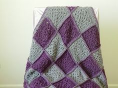 OMG - I want, want, want, want!  Crochet Granny Square Afgan in purple and gray by DawnsCrochetShop, $64.00