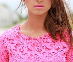 pink lace + pink lips