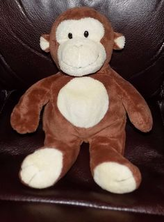 """2010 11"""" TY Pluffies BROWN & CREAM Dangles PLUSH Monkey #Ty"""
