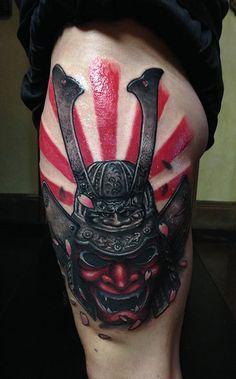 nice Samurai Metall-Helm Oni Hannnya Maske Japanischen Rising Sun Tattoos