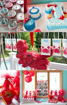 boy first birthday crab seaside theme, super cute!  Could also be beginning of little mermaid birthday...