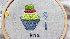 ring stitch hand embroidery tutorial Korean shaved ice desserts Hand Embroidery Tutorial, Coin Purse, Stitch, Rings, Desserts, Tailgate Desserts, Full Stop, Deserts, Ring
