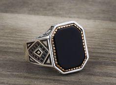 925 K Sterling Silver Man Ring Black Onyx Gemstone 10,5 US Size #istanbuljewelry #Cluster