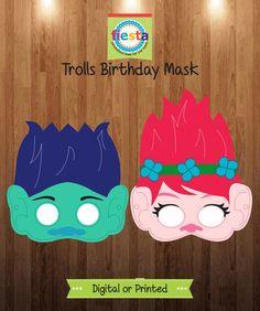 6 Printed Trolls Birthday Mask de FiestaDigital en Etsy