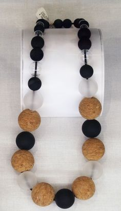 Cork, glass, and rubber statement necklace by Betty Nelsen.