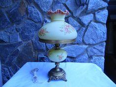 Vintage Fenton Burmese Hand Painted Table Lamp