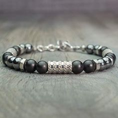 f09fb4f2cb6 Bracelet homme perles Ø 6mm pierre gemme Agate Noir Mat Hématite Acier  inoxydable Fait main Made