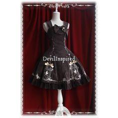 Brown Bow Sweet Rococo Lolita Jumper Skirt - DevilInspired.co.uk