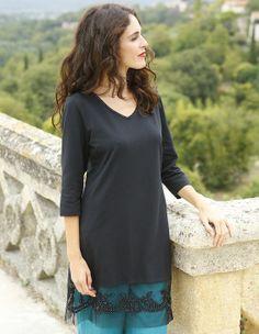 Longshirt 'Shanice', schwarz - T-Shirts - Deerberg