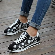 spring summer luxury brand women casual shoes,light originality skull heads print Cortez Hip hop woman flat shoes - Skull Clothing and Accessories - 2 Cute Shoes, Me Too Shoes, Hip Hop Women, Skull Shoes, Skull Fashion, Punk Fashion, Lolita Fashion, Womens Flats, Nylons
