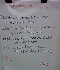 "Quotation mark song... to the tune of the Ants Go Marching...Have to add your own hurrahs and final verse, ""And we all use quotation marks when we talk""!"