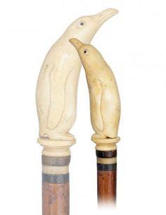 41. Whale Tooth Penguin Nautical Cane-Ca. 1860-A Wonder
