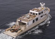 """Yacht Escort Ships """"SuRi""""Fierce Contender For Refit Of The Year! When the owner of the 50 meter Hakvoort """"JeMaSa"""" decided he needed a support. Trawler Boats, Explorer Yacht, Expedition Yachts, Sport Fishing Boats, Luxury Yachts, Luxury Boats, Yacht Cruises, Deck Boat, Yacht Interior"""