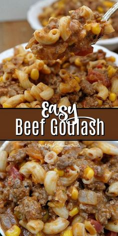 Easy Beef Goulash is packed full of flavor, from the seasonings to the cheese and is an easy weeknight meal everyone will love. Easy Beef Goulash is packed full of flavor, from the seasonings to the cheese and is an easy weeknight meal everyone will love. Easy Goulash Recipes, Easy Meat Recipes, Beef Recipes For Dinner, Easy Casserole Recipes, Potato Casserole, Potato Soup, Cowboy Casserole, Pasta Bake Recipes, Beef Goulash