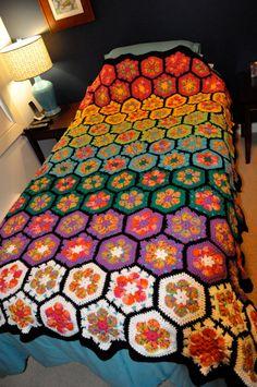 Crochet afghan  African flower hexagon grannies by JustLivSweetly, $265.00