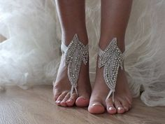 Beach wedding barefoot sandals,bridal anklet,rhinestone