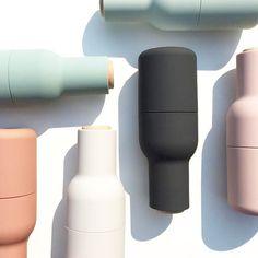 New in ! Menu Bottle Grinders - so sleek, so pretty, so functional. Cute Water Bottles, Reusable Water Bottles, Dark Rose, Makeup Package, Perfume, Cosmetic Packaging, Bottle Design, Packaging Design, Packaging Ideas
