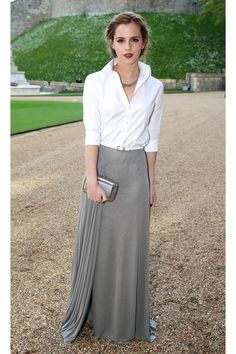 """Love this look. I love short skirts and dresses, but I can totally carry this beautiful look. I especially like the clean white open shirt. Would be tough to find one that works for """"the girls"""", but a wrap style might do."""