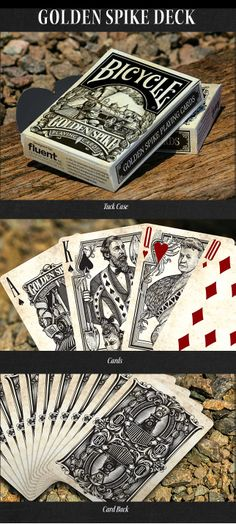 Golden Spike Playing Cards-Launching on June 30th, 2014 on Kickstarter.com. Deck #1 Bicycle Branded Golden Spike Tuck and Card Art.
