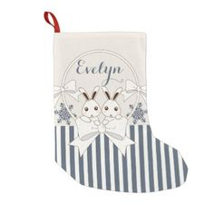 Cute Bunny Cartoon Christmas Holiday Kids Name Small Christmas Stocking - christmas stockings merry xmas cyo family gifts presents