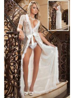 98149682e0f New 2016 Women Sexy Lingerie Hot Exotic Apparel Sleepwear Sensual Lace Fur  Trim Glam Night Robe M XXL Plus Size Dress. Detail Sensual lace evokes  timeless ...