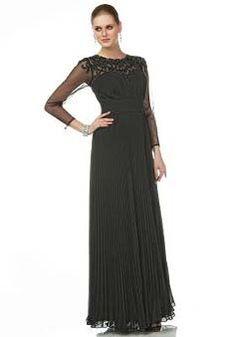 A line Jewel Neckline Long Sleeve Chiffon Floor Length Mother of the Bride Dress - Lunadress.co.uk