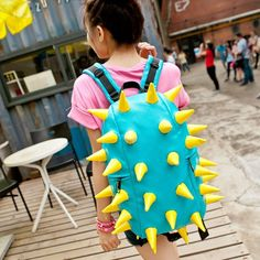 Tinksky® Unisex Womens Man Hedgehog Spike Punk Backpack Spiky College Tablet Campus School Bag (Blue/yellow)  - Click image twice for more info - See a larger selection of yellow  backpacks at http://kidsbackpackstore.com/product-category/yellow-backpacks/ - kids, juniors, back to school, kids fashion ideas, teens fashion ideas, school supplies, backpack, bag , teenagers girls , gift ideas, yellow