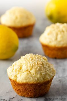 These lemon coconut muffins make the perfect breakfast or snack. Easy to make, they freeze well, and everyone loves them. Perfect for breakfast on the go! Lemon Recipes, Cake Recipes, Dessert Recipes, Brunch Recipes, Bread Recipes, Yummy Recipes, Breakfast Recipes, Breakfast Muffins, Quick Recipes