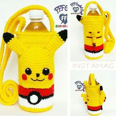 Crochet Coffee Cozy, Crochet Cozy, Crochet Gifts, Crochet For Kids, Pikachu Crochet, Minion Crochet, Kawaii Crochet, Pokemon Bag, Hello Kitty Crochet