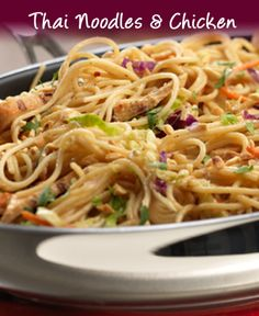 Quick recipe for Thai Noodles and Chicken - The combination of peanut butter, soy sauce, red pepper and brown sugar makes this dish Thai.  The grilled chicken, coleslaw mix and chopped peanuts makes it absolutely delicious...and it's ready in just 30 minutes.
